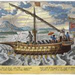 Fusta portoghese, incisione colorata a mano dall'Itinerario di Jan Huygen Linschoten.